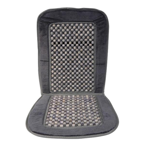 Image of Mata koralik na siedzenie obszyta welurem szara deluxe