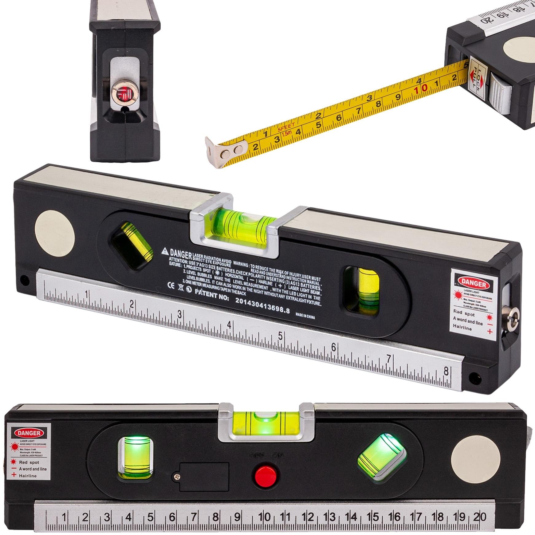 Image of Poziomica laserowa z miarką standardową i zwijaną 150cm +led geko