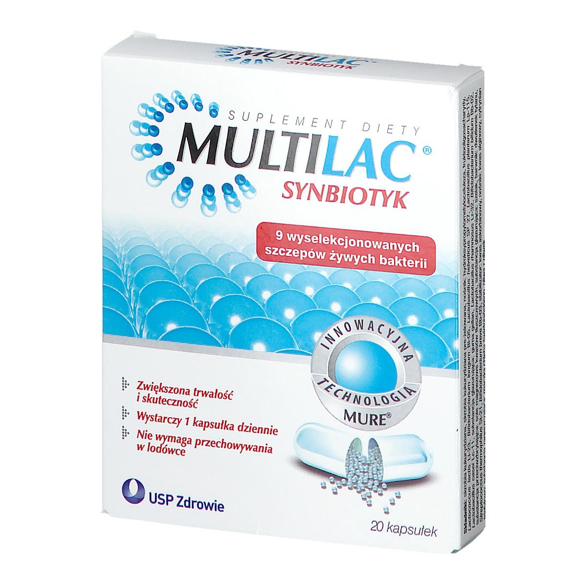 Multilac, synbiotyk (probiotyk + prebiotyk), kapsułki