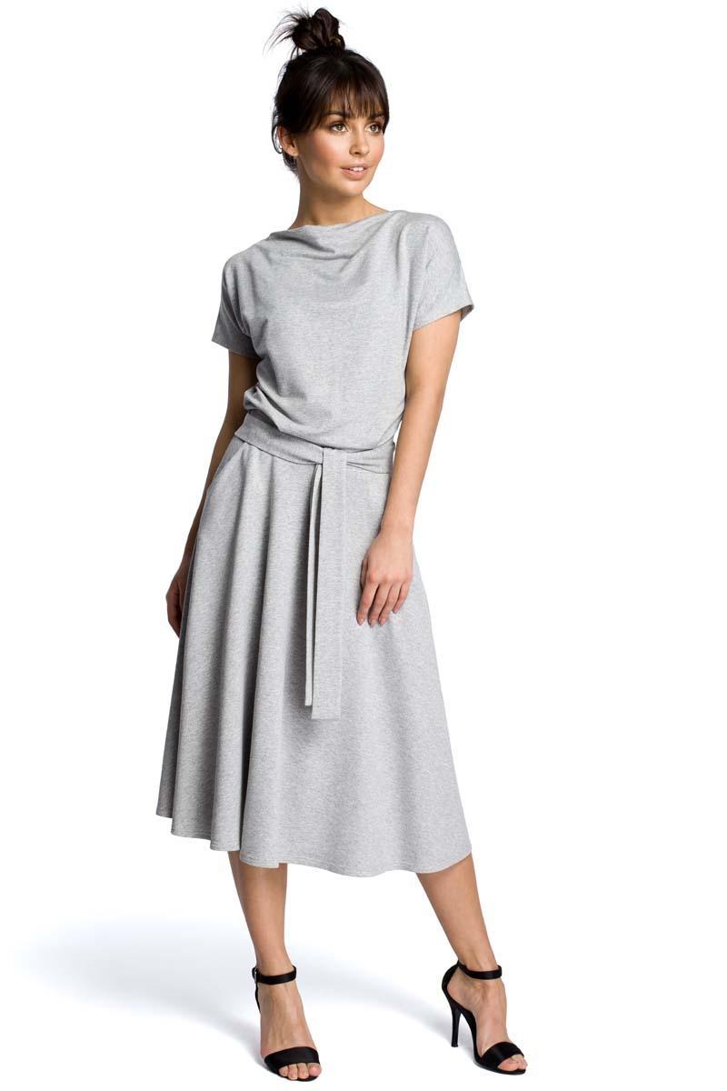 Sukienka midi wiązana w pasie - szara