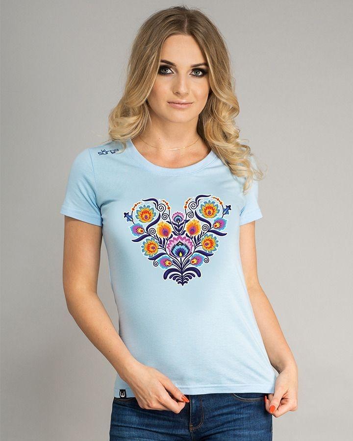 Image of Koszulka damska surge polonia serce folk ażur niebieska l