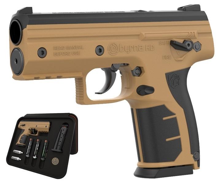 Image of Pistolet na kule gumowe i pieprzowe byrna hd tan-brąz kal.68 co2 8g zestaw (bk68300-tan)