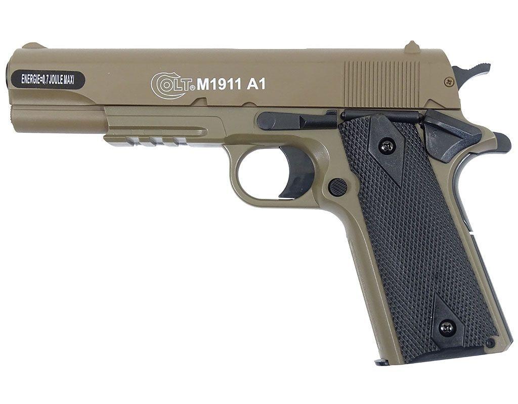 Image of Pistolet asg cybergun colt 1911a1 hpa metal slide - tan (180126)