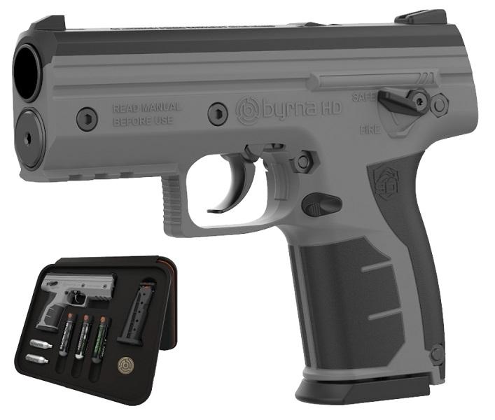 Image of Pistolet na kule gumowe i pieprzowe byrna hd tungsten-szary kal.68 co2 8g zestaw (bk68300-tng)
