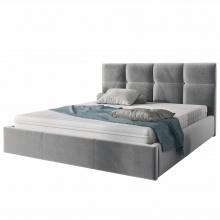 Łóżko tapicerowane 180x200 cm ksavier ze stelażem i pojemnikiem szare welur