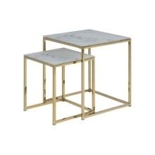 Zestaw stolików kawowych alisma biały szkło/metal