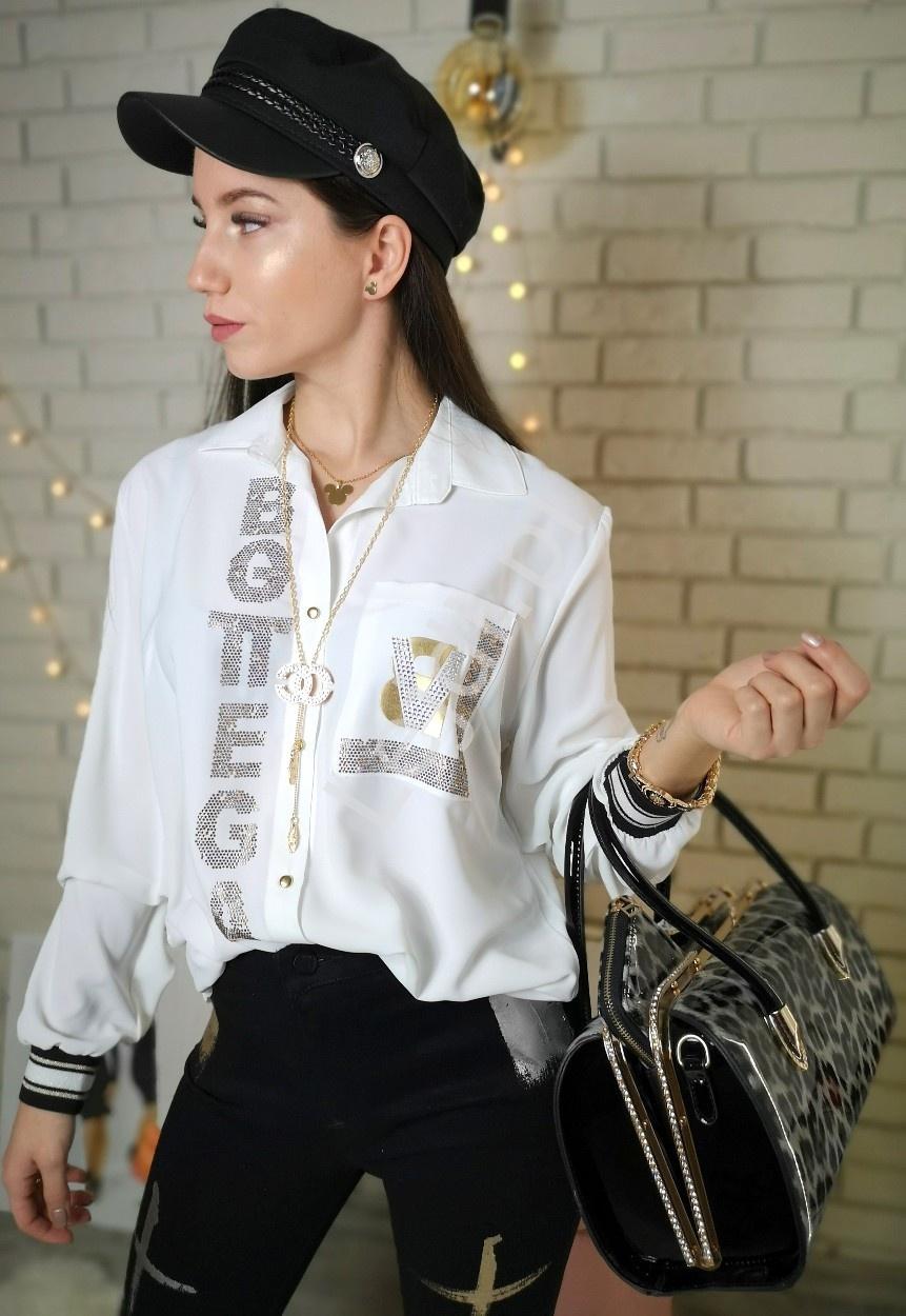 Biała koszula damska bottega z kryształkami 460