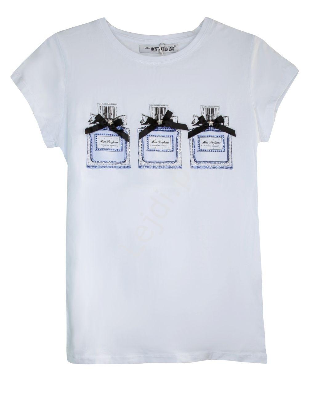 Biała koszulka z kryształkowymi perfumami