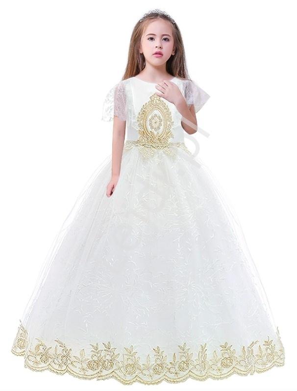 Biała suknia na komunie dla dziewczynki ze złotym haftem
