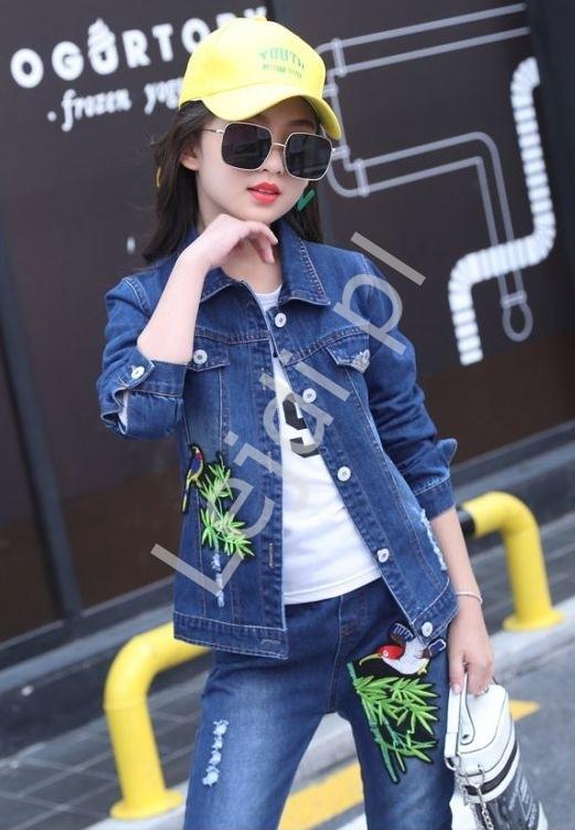 Komplet dziewczęcy - jeansy, kurtka jeansowa, bluzka