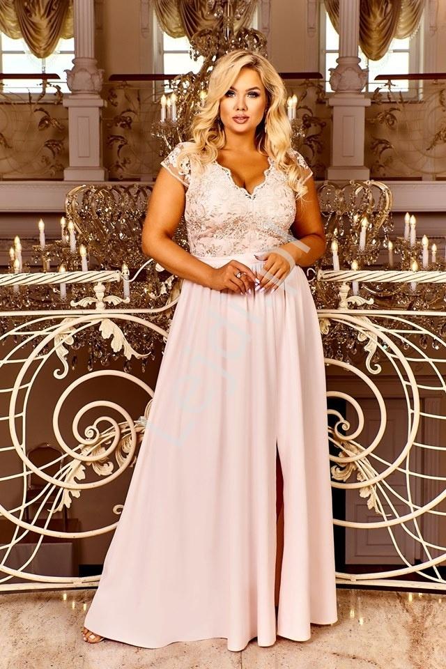 Beżowo złota sukienka wieczorowowa zdobiona koronką chantell
