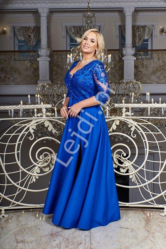 Chabrowa sukienka plus size z koronkową górą z cekinami - crystal 3/4