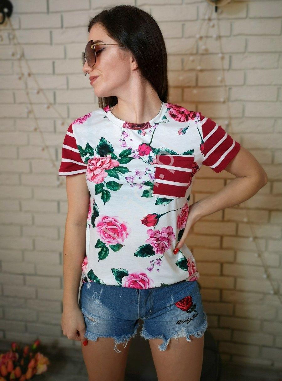 Letnia bluzka damska w kwiaty z paskami na plecach bordowo białymi 0066