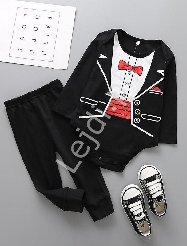 Komplet dla chłopca body z nadrukowaną koszulą i spodenki 0237