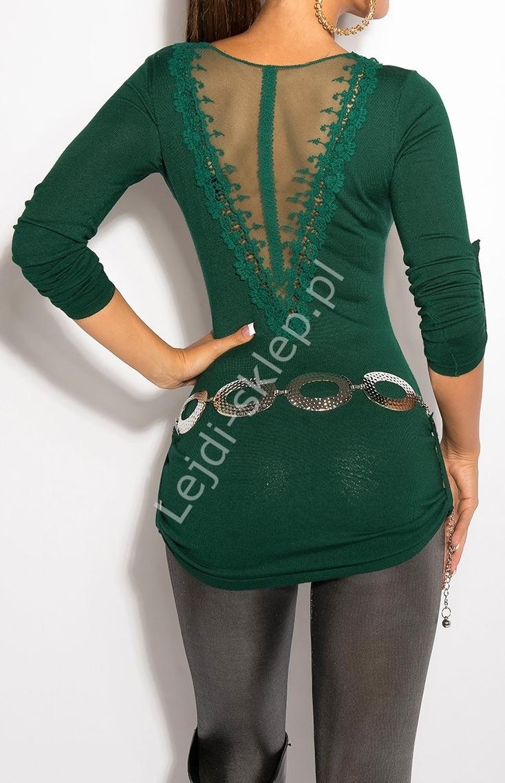 Szmaragdowy sweter z haftem na plecach / sweter z rękawem 3/4, 8011