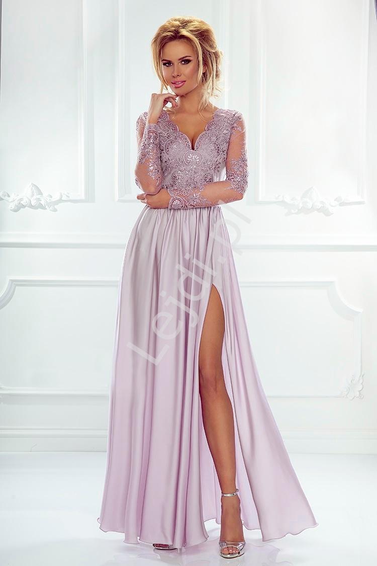 Suknia na wesele z długim rękawem - lila wieczorowa luna