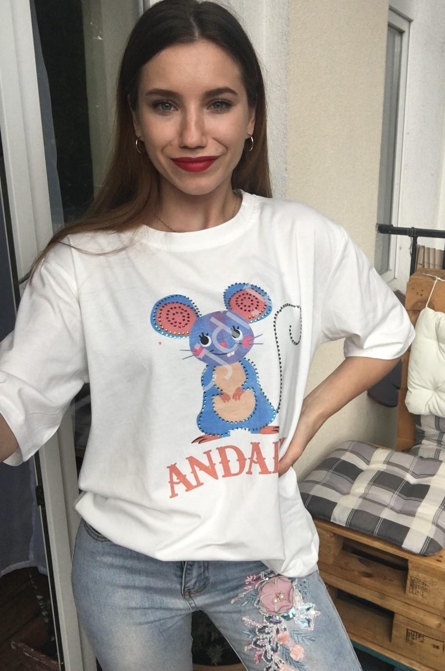 Biała koszulka damska z myszką z kryształkami