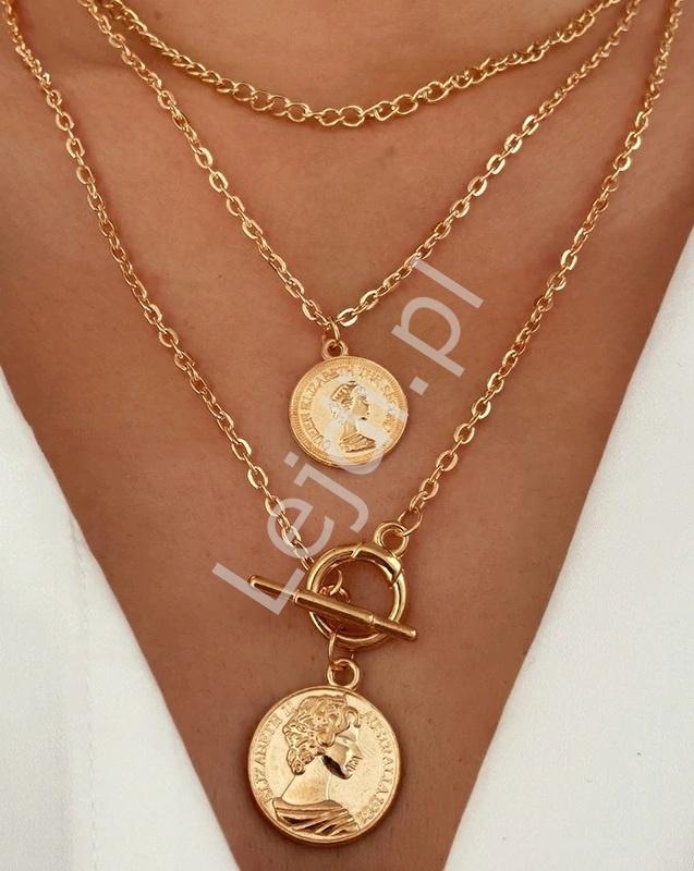 Potrójny naszyjnik z monetami