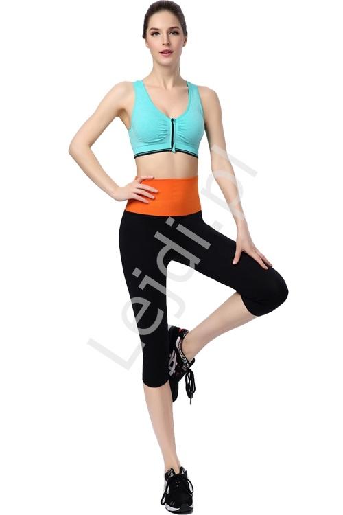 Image of Bezszwowe legginsy z pomarańczowym pasem 2219