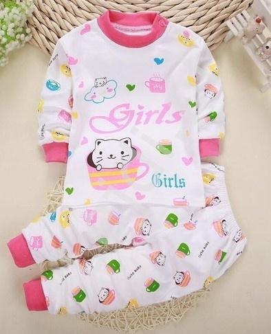 Image of Bawełniana piżama dla dziewczynki z kotkami 0285