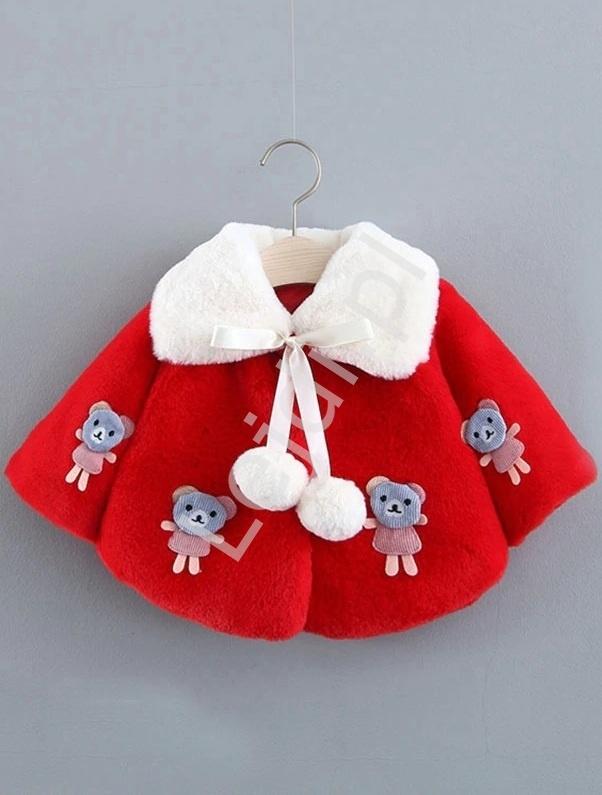 Image of Czerwone eleganckie futerko dla dziewczynek - futrzane bolerko z misiami