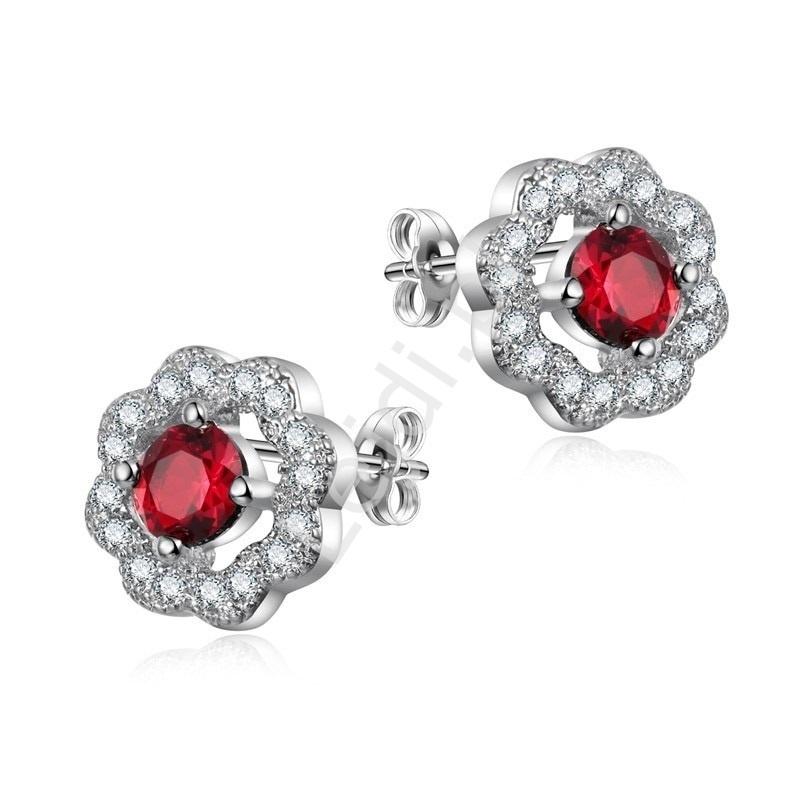Srebrne kolczyki kwiatki z czerwoną cyrkonią