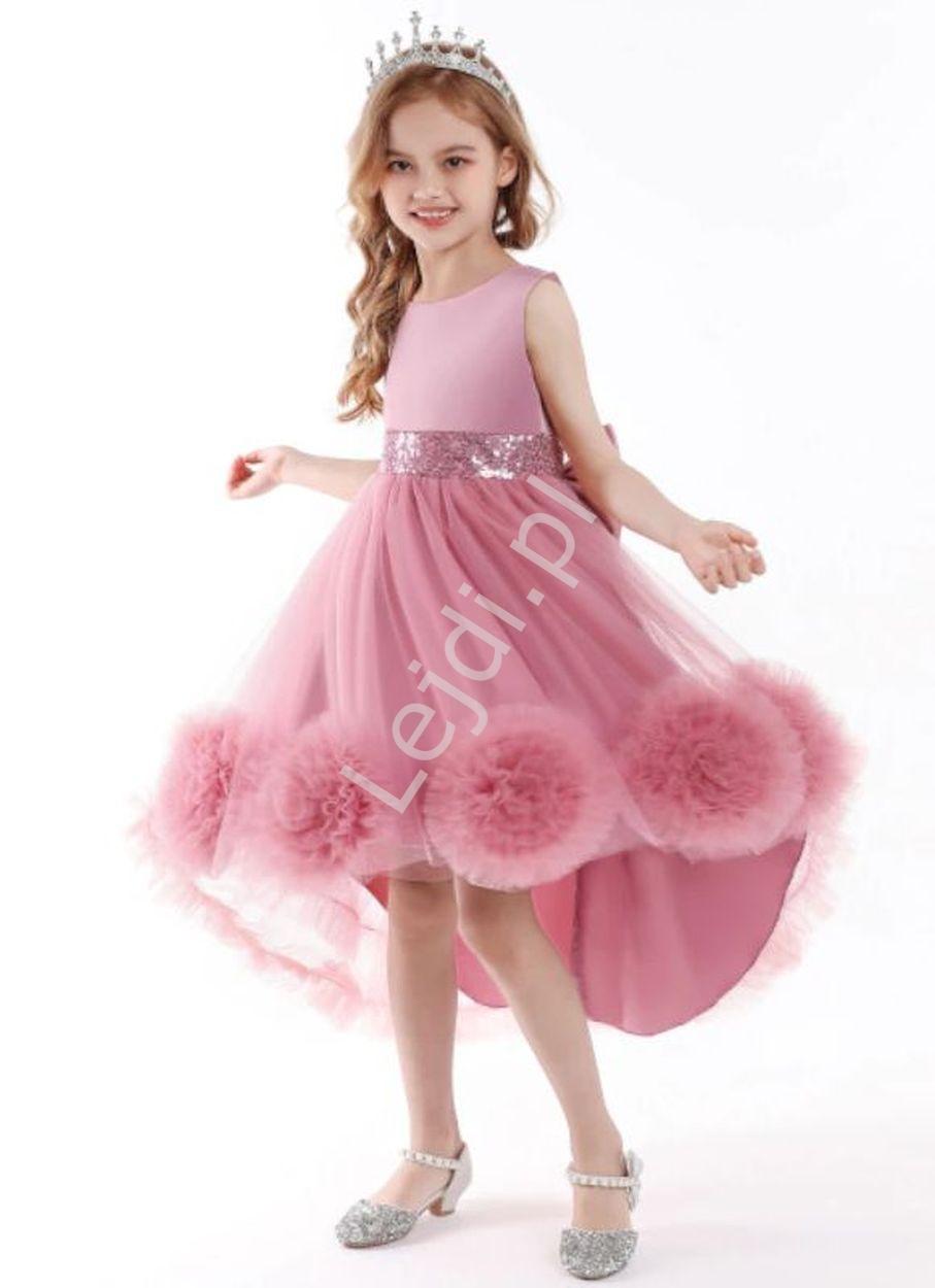 Image of Balowa suknia dla dziewczynki, pustynno różowa sukienka dziecięca z wydłużonym tyłem 5259