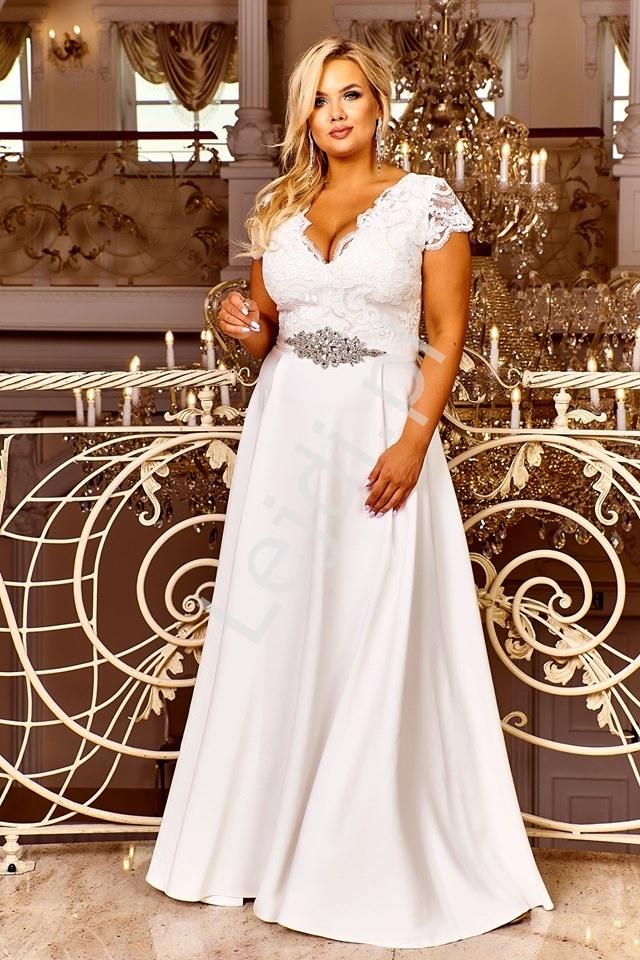 Ślubna sukienka z koronkową górą i cekinami  - crystal 2