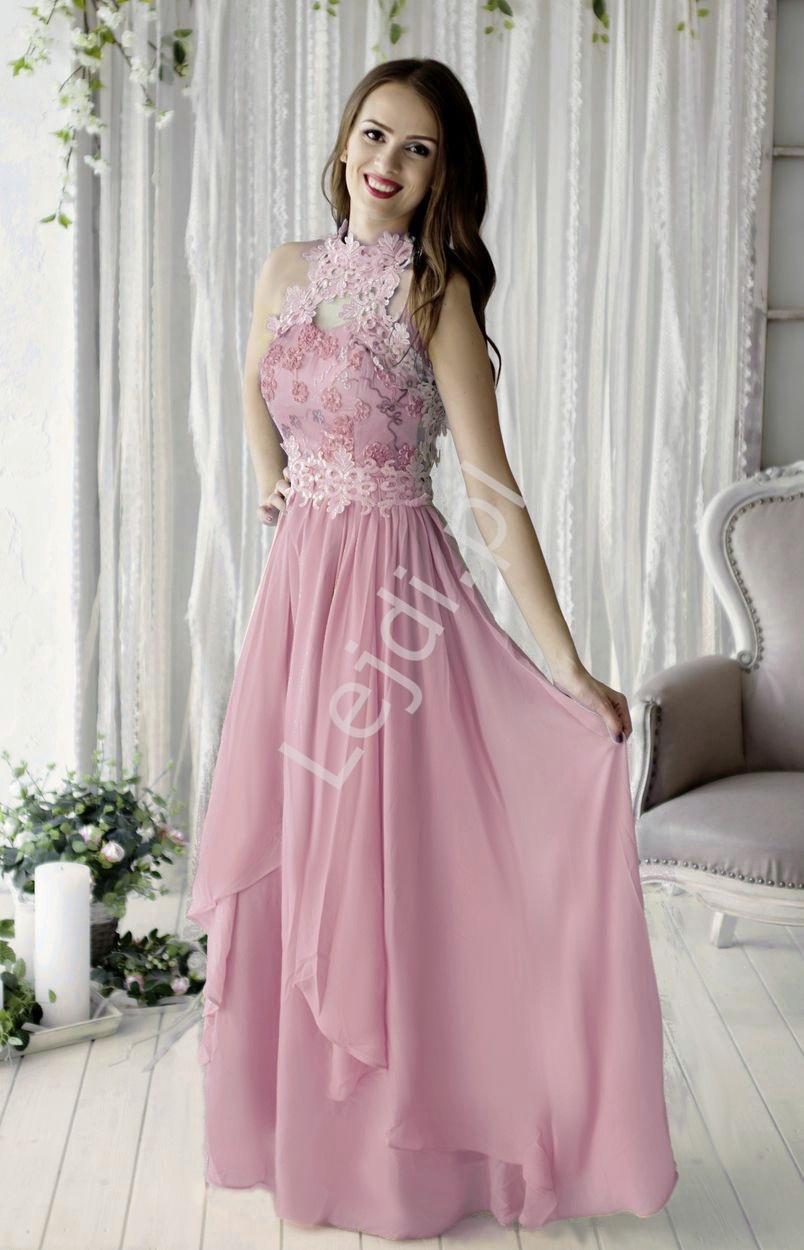 Wieczorowa suknia w kolorze wrzosu z kwiatami 3d