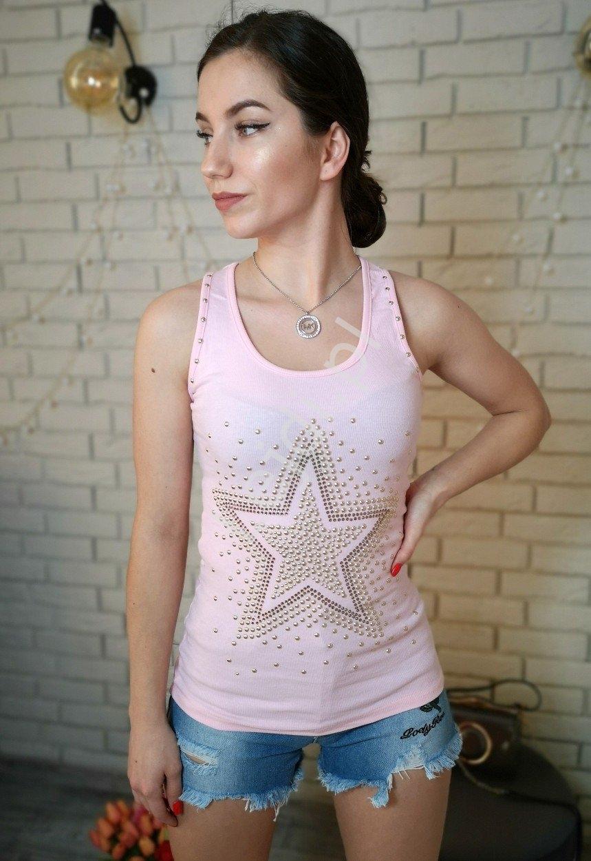 Bokserka jasno różowa z gwiazdą z jetów | topy damskie z jetami