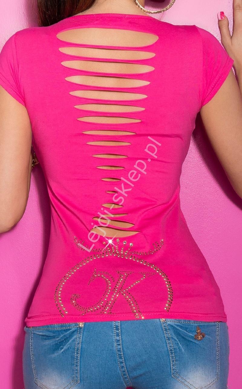 Klasyczna koszulka z rozcięciami na plecach, fuksja