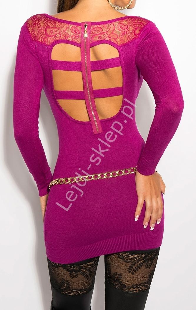 Fuksjowa sukienka z koronką na plecach i paskami, 8031