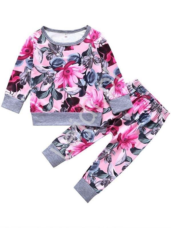 Image of Modny kwiatowy dres dla dziewczynki w duże kwiaty 007