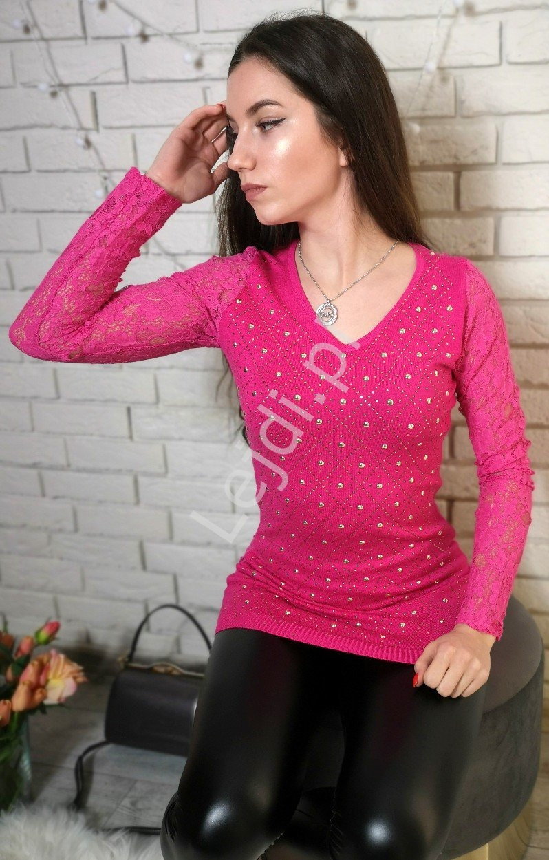 Różowa tunika z koronkowymi rękawami   tuniki damskie z jetami 8059