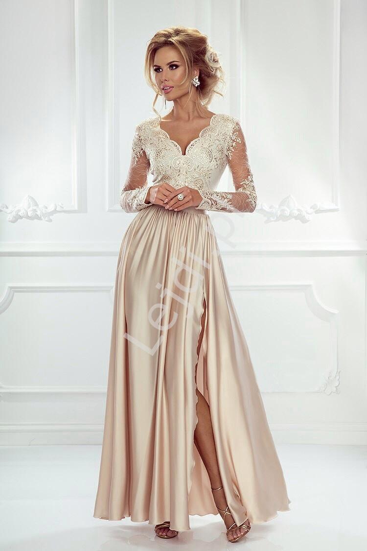 Sukienka na wesele z długim rękawem -jasno złota wieczorowa luna