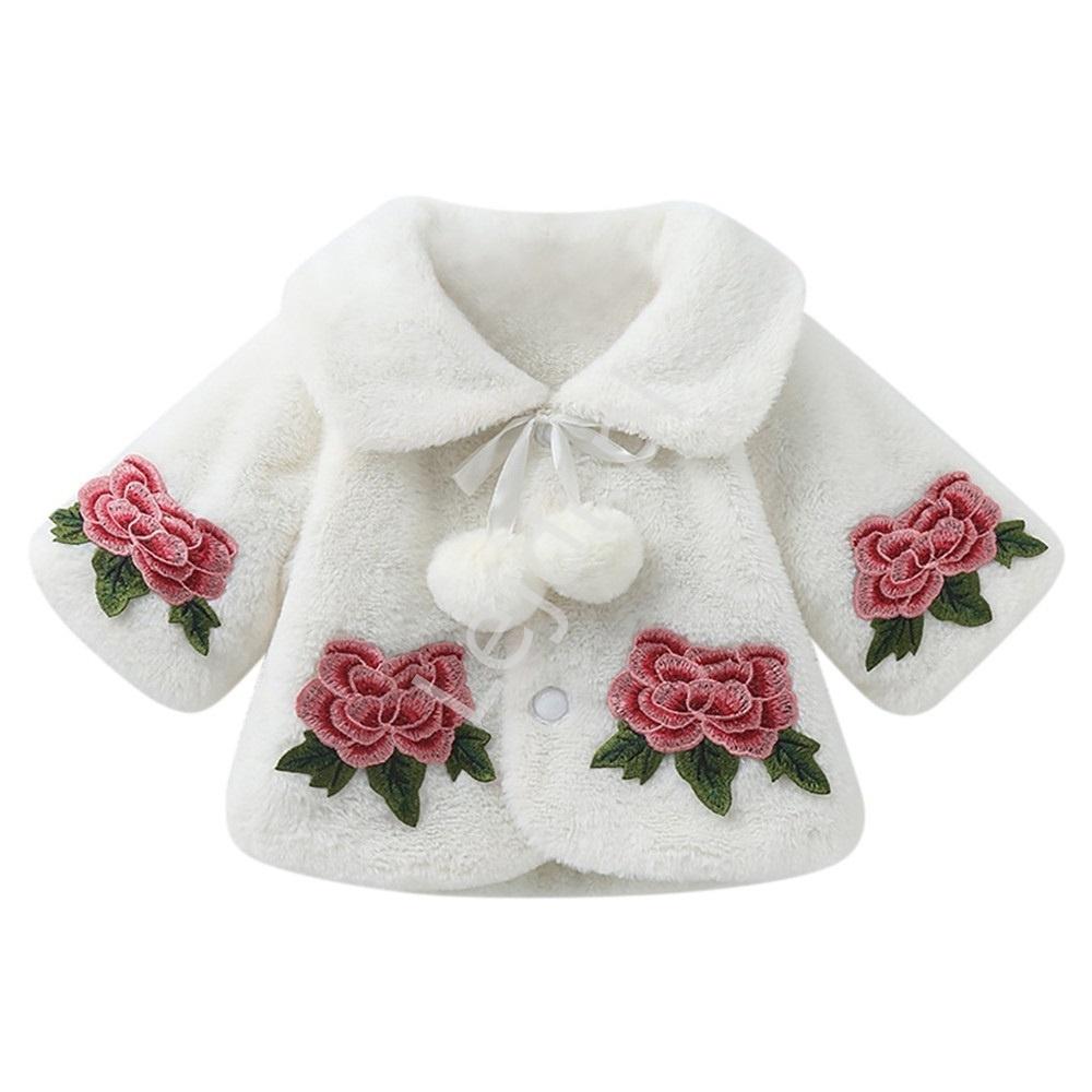 Image of Eleganckie futerko dla dziewczynek - futrzane bolerko z haftowanymi różami