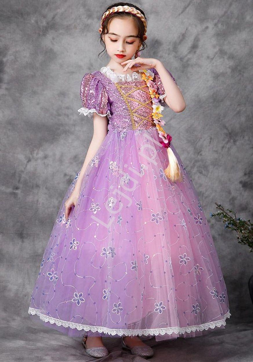 Image of Dziecięca sukienka na bal karnawałowy, strój roszpunki , kostium zaplątani r031
