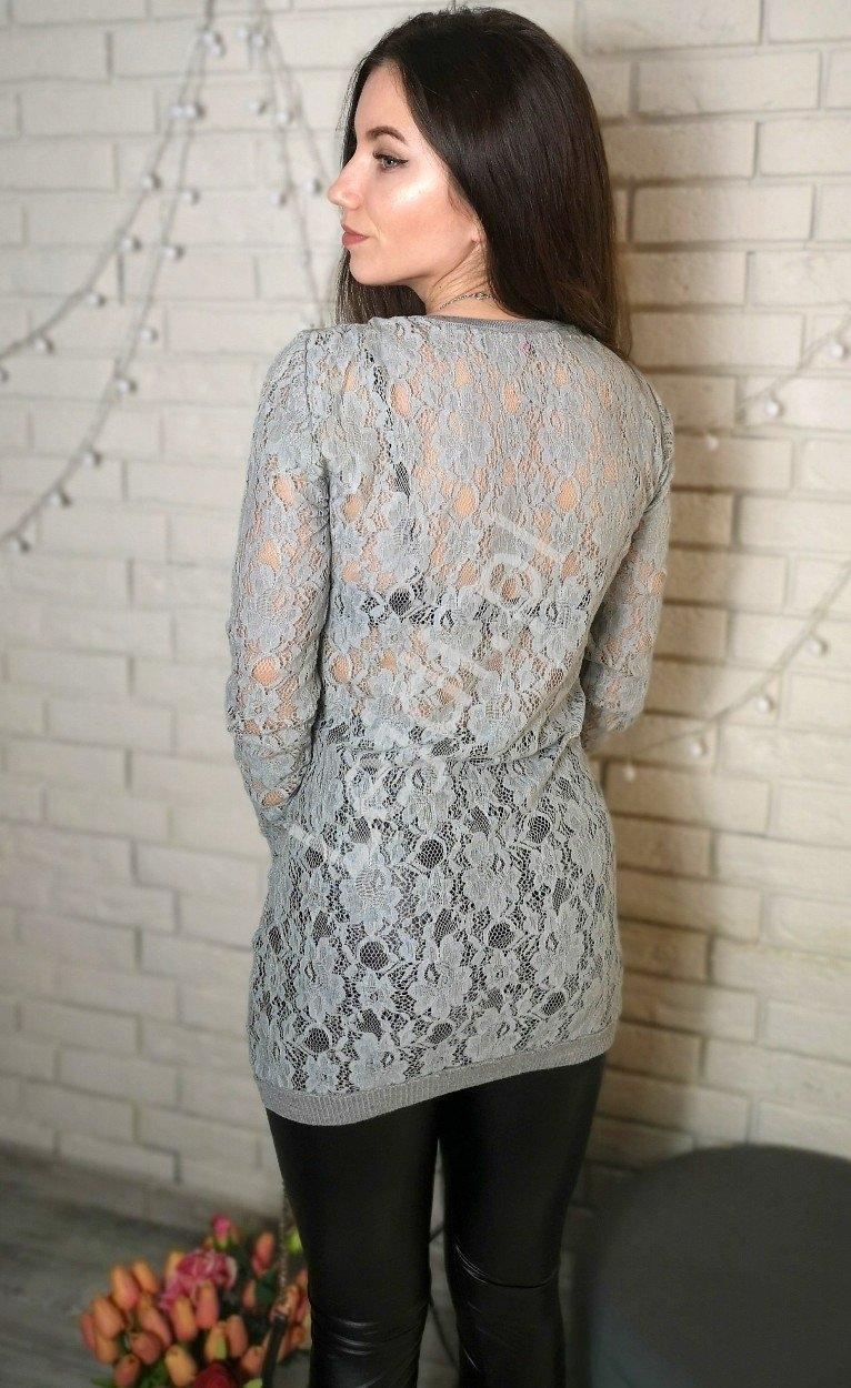 Szara tunika z koronkowymi rękawami i plecami | tuniki damskie z jetami 8059