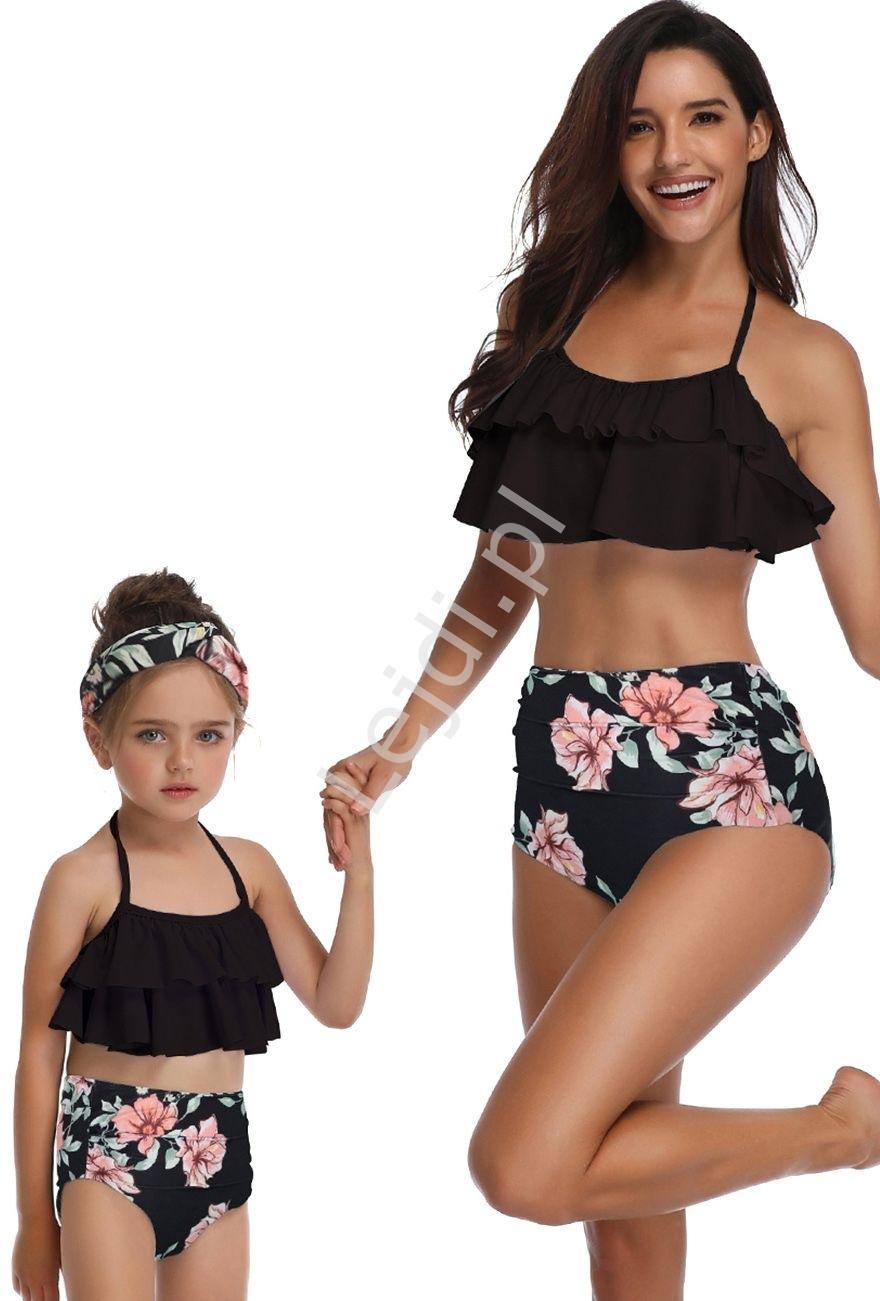 Image of Bikini mama córka w kwiaty, czarne z falbanami 5164