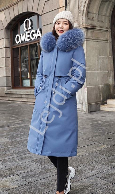 Błękitna parka letnio zimowa, z ciepłą podpinką, damska kurtka 2w1, 9791