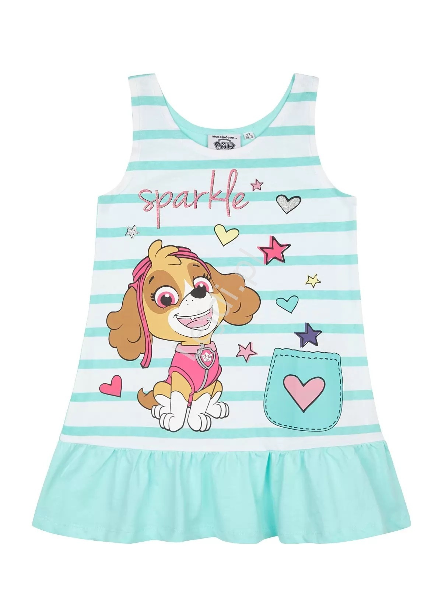 Image of Bawełniana sukienka psi patrol ze sky, letnia sukienka dla dziewczynki