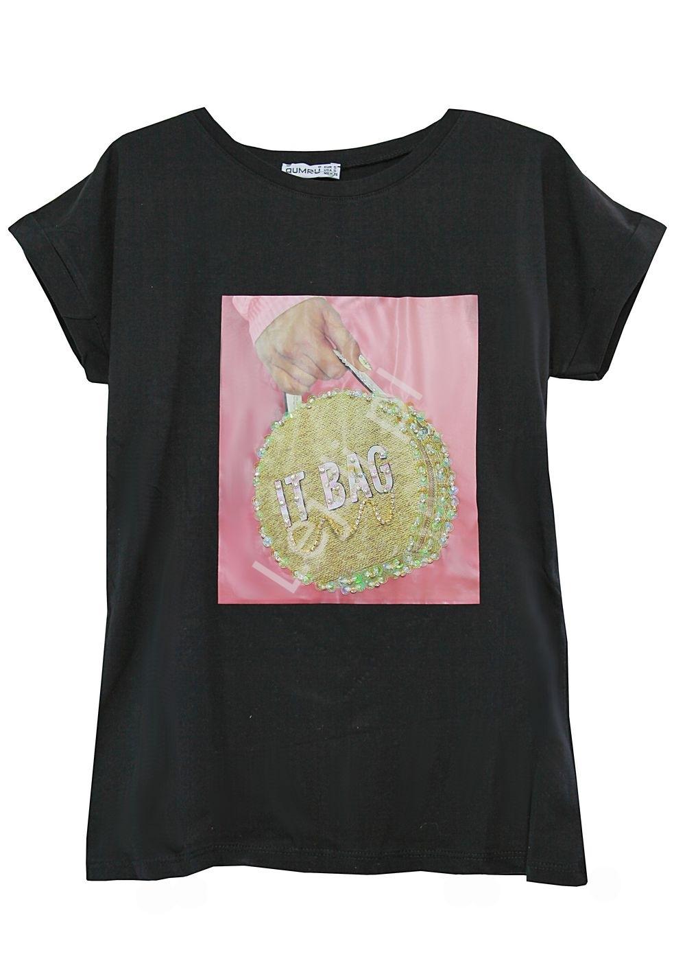 Image of Bawełniana koszulka damska z zdobiona torebką- it bag