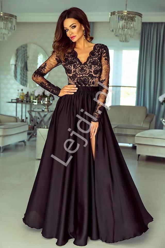 Suknia wieczorowa z jedwabistym dołem - luna czarna z pudrowo różową podszewką