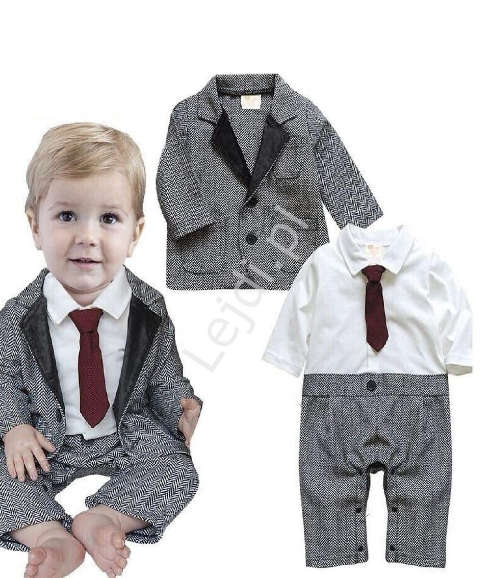Elegancki rampers dla chłopca z marynarką i krawatem, ubranko do chrztu dla chłopca 1147