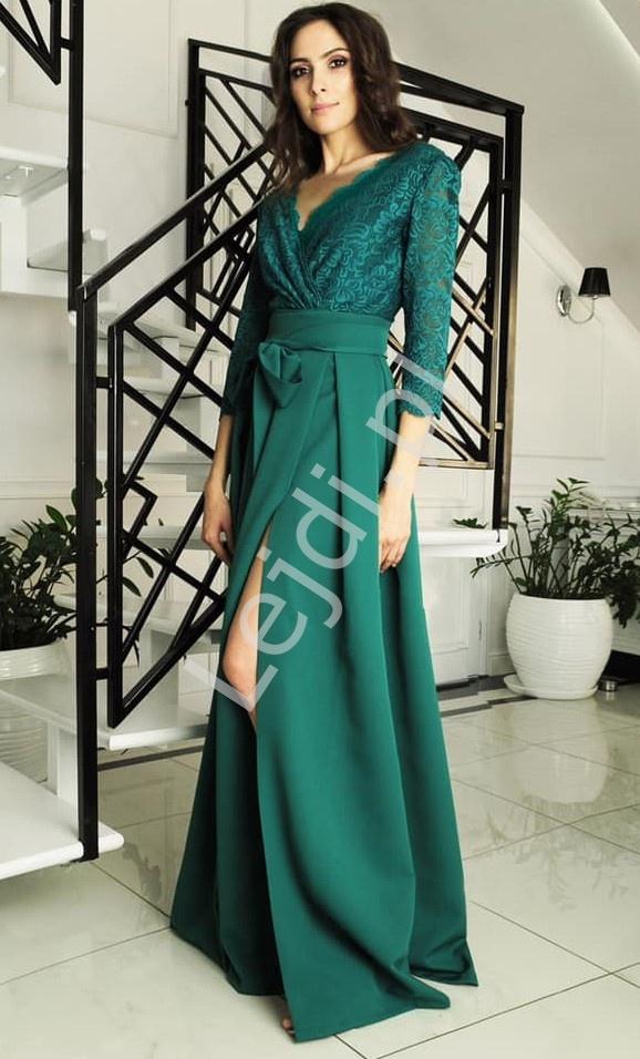 Elegancka suknia szmaragdowa z podkreśloną talią, rozmiary od 34 do 52, m386