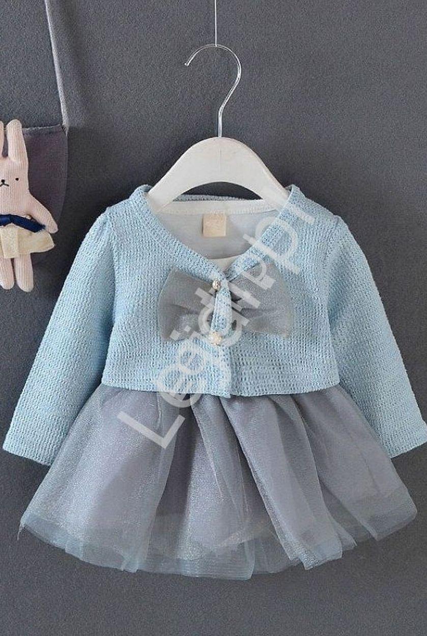 Komplet dla dziewczynki, sukienka z tiulową spódniczką i sweterek, błekitny 056