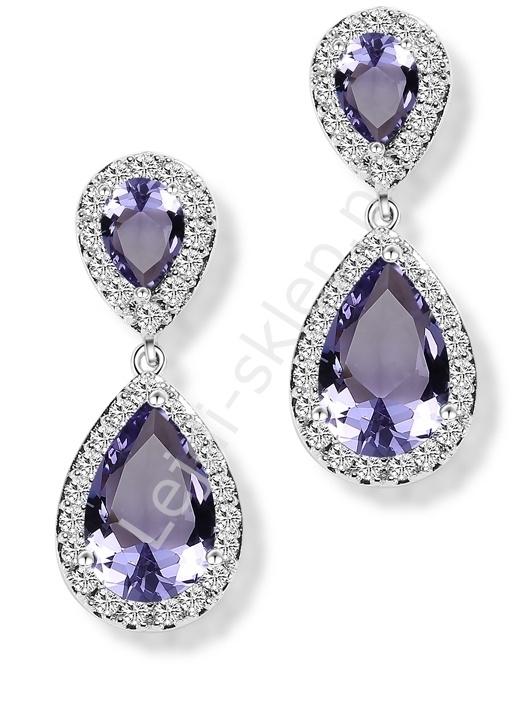 Kryształkowe wrzosowe kolczyki wieczorowe, dwie łezki otoczone kryształkami