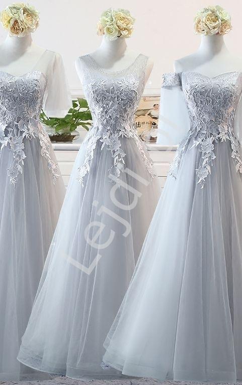 Tiulowa szara sukienka wieczorowa na studniówkę, dla druhny, na wesele 9