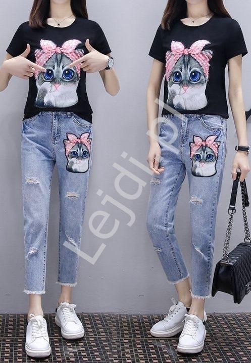Zestaw 2- częściowy jeansy damskie z kotem oraz czarnym t-shirt z kotem
