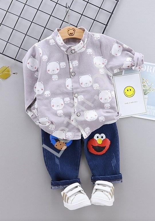 Śliczny komplet dla chłopca, koszula i jeansy 0807